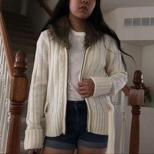 Soft jacket w/ fur collar